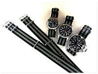 NATO G10 ® Black Grey HD nylon Military Diver watchband RAF strap bond IW SUISSE