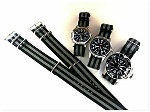 NATO G10 ® Black Grey HD nylon Military Dive watch band RAF strap bond IW SUISSE