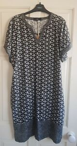 NEXT Linen Blend Black Print Dress,  Size 20