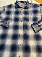 Foundry Men's Button Down/ Button Up Big & Tall 2XLT Blue Plaid Long Sleeve Euc