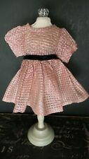 Vintage! Red and Silver Metallic Striped Dress for 1950 Era Hard Plastic Dolls