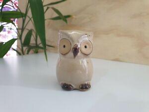 Ceramic Owl Ornament Statue Figurine Gift Small Glazed Bird Urban Cute Beige