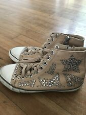 Ash leather trainers with crystals and studs in Sand colour