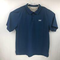 Under Armour Mens Blue Short Sleeve Loose Heat Gear Golf Polo XL
