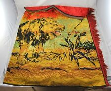 """Woven Rug Wall Hanging Tapestry Lion In Savannah Red Yellow 72"""" x 48""""   L3Y44"""