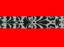 "damask black white grosgrain ribbon 7/8"" per 1 mtr hair scrapbooking card making"