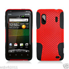 HTC Evo Design 4G Hero S Mesh Hybrid Case Skin Cover Accessory Red Black