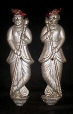 Antique Traditional Indian Peshwa Style Brass Pair DWARPALS DOOR KEEPERS Rare