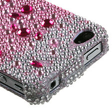 Apple iPHONE 4 4G 4S CRYSTAL DIAMOND BLING HARD CASE COVER SILVER PINK GRADIENT