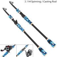 2.1m Blue Carbon Fiber Lure Fishing Rod Spinning Casting Rod Telescopic Pole