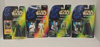 4 NEW Lot STAR WARS POWER OF FORCE Luke Skywalker 3-d Hoth Cloak Red Green Card