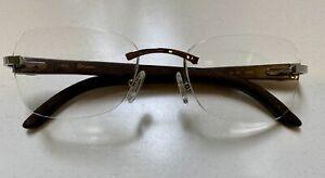 Cartier Brille Holz Randlos Silber Wie Neu!