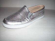 """NWOB NINE WEST """"BRODIE"""" Womens silver leather flat slip-on shoes US Sz 10M"""