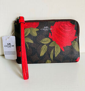 NEW! COACH CORNER ZIP WITH CAMO ROSE FLORAL PRINT WRISTLET WALLET $75 BROWN RED