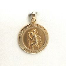 New 14k Gold St Saint Christopher Medal Charm Pendant
