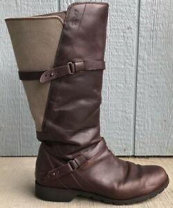 Teva Womens De La Vina Knee High Burgundy Leather Gray Canvas Boots Size 9.5