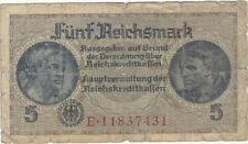 1940  NAZI Germany 5 Reichsmark Banknote SWASTIKA
