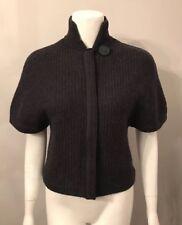 Tahari Gray Woven Short Sleeve Zip Up Merino Wool Cardigan Sweater Size S