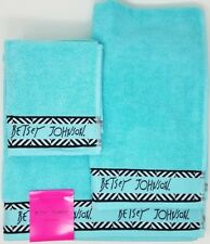 Betsey Johnson Set of 3 Towel Set - Bath, Hand, Washcloth - Light Blue
