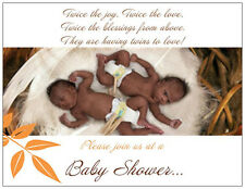 20 African American Twins Baby Shower Invitations Postcards