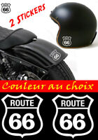 lot 2 stickers autocollant route 66 moto, casque, voiture, scooter, harley decal
