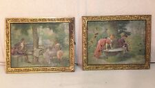 2 BRADLEY & HUBBARD ART NOUVEAU PAINTED PLAQUES / COURTING IN THE GARDEN