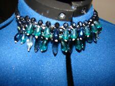 BNWOT Debenhams green, blue & grey acrylic beaded choker on black ribbon.