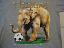 "Thailand ""Thai Elephant Showing Off Football Game"" Grey T Shirt Mens Size M"