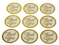 "GOLD THANK YOU Print on CLEAR BACK Round 1"" Stickers CHOOSE PACKAGE AMOUNT"