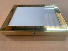 More details for brass a3 menu box menu case & pinboard led illuminated for indoor & outdoor use