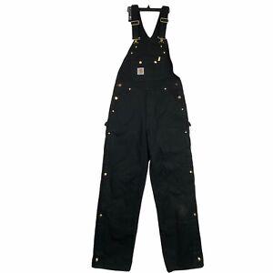 Carhartt R41 Men's Size 32x32 Quilt Lined Zip To Thigh Bib Overalls Black Work
