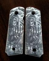 1911 custom engraved ivory scrimshaw grips Skull Grim Reaper Flip