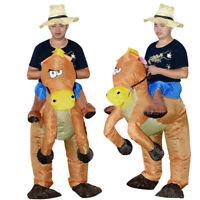 Inflatable Horse and Cowboy  Horse Riding + Hat Fancy Dress Costume Cosplay Suit