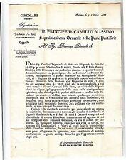 1855 ROMA circolare Principe CAMILLO MASSIMO SOVRINTENDENTE GENERALE POSTE-f252