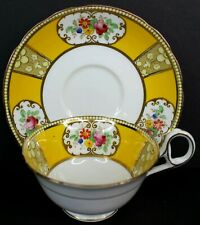 S&N L Salon China Tea Cup and Saucer Made in England Yellow Floral