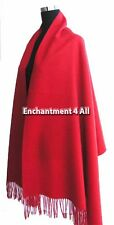 Large 100% 4-Ply Pure Cashmere Shawl Wrap, Red