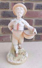 ROYAL WORCESTER James Hadley Blush Ivory Boy with Basket Figurine