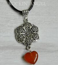 Antique Silver Plt Flower & Carnelian Agate Heart Pendant Cord Necklace Ladies