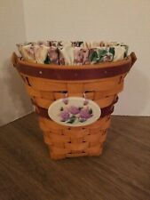 Longaberger 1994 May Series Lilac Basket Liner Protector Tie-On w/2 family sigs