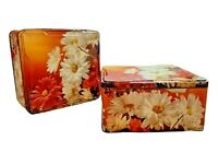 Vintage Floral Daisies Cookie / Storage Tins - Tin From England (Lot of 2)