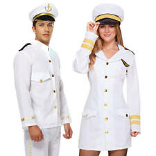 White Marine Captain Adults Fancy Dress Mens Ladies Navy Sailor Costume Outfit