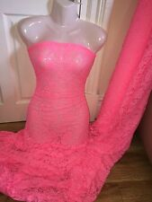 """1 MTR BRIGHT PINK LYCRA STRETCH LACE FABRIC...60"""" WIDE"""