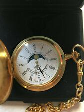 Royal Swiss made Taschenuhr mit Kette vergoldet Mondphase mit Kette und Etui