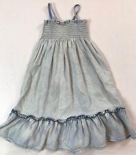 Hanna Andersson Size 120 6-7 years Light Blue Denim Ruffle Convertible Sun Dress