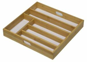 NATURAL WOODEN CUTLERY TRAY DRAWER ORGANIZER RACK 6 SECTION WITH WHITE BASE
