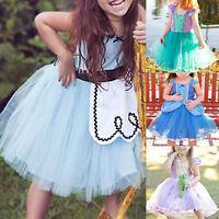 Girls Kids Cinderella Princess Wedding Party Ball Gown Tutu Cosplay Mini Dress