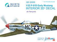 Quinta QD32005 1/32 P-51D (Eary) 3D-Printed & coloured interior (for Tamiya kit)