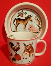 Lynn Chase Bowl Mug Barn Dance 2 Pc Set Porcelain Farm Animal Pig Cow Child '97