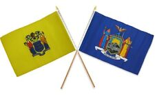 """12x18 12""""x18"""" Wholesale Combo State New York & New Jersey Stick Flag"""
