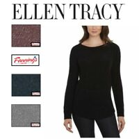 NEW Women's Ellen Tracy Scoop Neck Light Pullover Long Sleeves Tweed Sweater D25